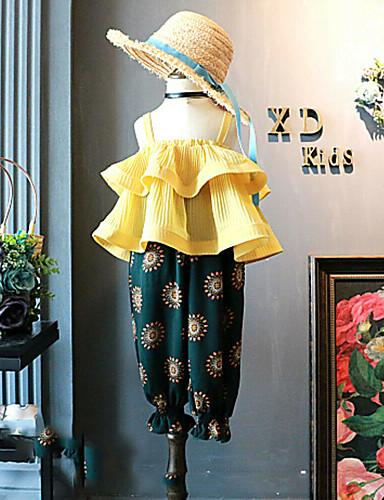 เด็ก Toddler เด็กผู้หญิง ซึ่งทำงานอยู่ Street Chic ลายพิมพ์ Peplum เปิดหลัง ระบาย เสื้อไม่มีแขน ปกติ ปกติ ชุดเสื้อผ้า สีเหลือง