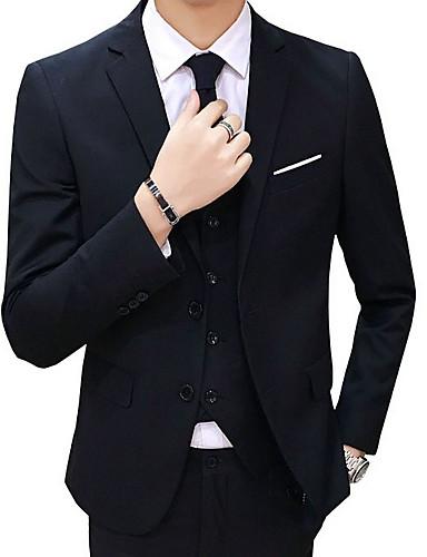 abordables Costume / Tailleur-Homme Blazer Revers Cranté Polyester Noir / Bleu clair / Rouge / Mince