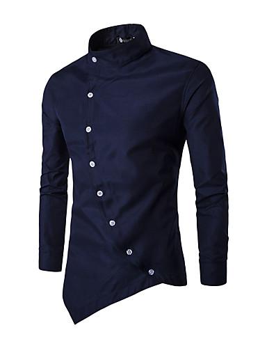 preiswerte Schöne modische Herrenhemden-Herrn Solide Hemd, Stehkragen Patchwork Schwarz