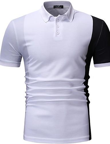 สำหรับผู้ชาย Polo คอเสื้อเชิ้ต ลายบล็อคสี ขาว