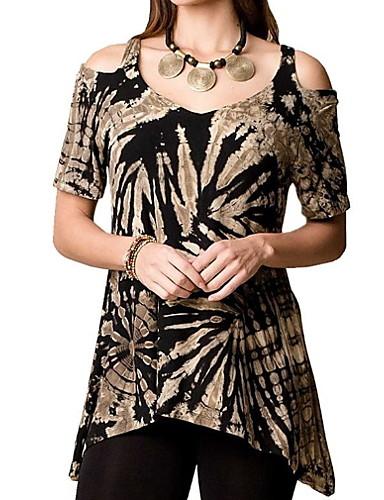 billige T-skjorter til damer-Tynn T-skjorte Dame - Geometrisk, Blomster Rosa / Vår / Sommer / Høst / Vinter