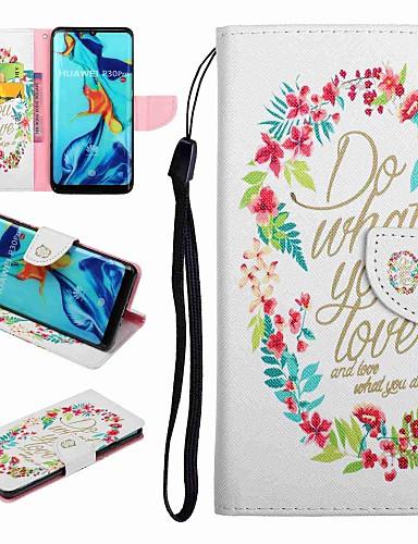 Case สำหรับ Huawei Huawei P20 / Huawei P20 Pro / Huawei P20 lite Card Holder / with Stand / Flip ตัวกระเป๋าเต็ม Word / Phrase Hard หนัง PU / P10 Lite / P10
