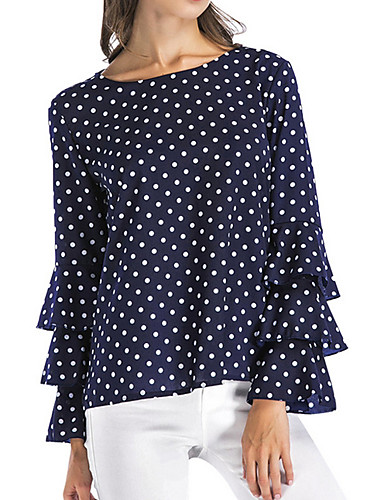 billige Skjorter til damer-Store størrelser Skjorte Dame - Polkadotter Svart