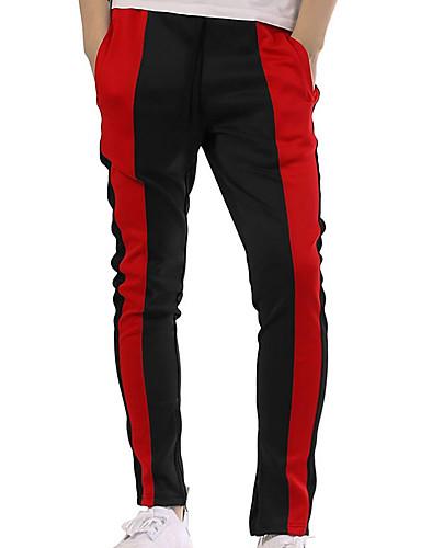 สำหรับผู้ชาย พื้นฐาน กางเกง Chinos กางเกง - สีพื้น สีดำ ส้ม สีเหลือง XL XXL XXXL