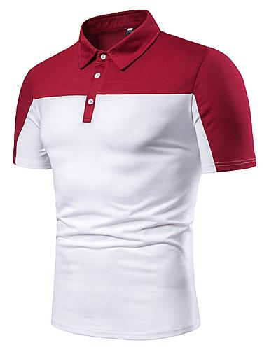 สำหรับผู้ชาย ขนาดของยุโรป / อเมริกา Polo ลายต่อ คอเสื้อเชิ้ต ลายบล็อคสี ขาว