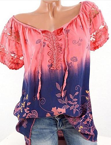 billige Dametopper-Store størrelser T-skjorte Dame - Blomstret / Geometrisk Lyseblå / Sommer