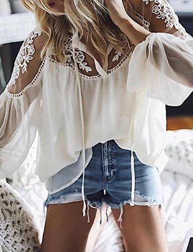 billige Skjorter til damer-Løstsittende V-hals Skjorte Dame - Ensfarget, Blonde Hvit