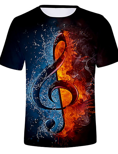 cheap 11.11 - Men's 3D Print T-Shirts Best Sale-Men's Daily T-shirt - Color Block / 3D Round Neck Black / Short Sleeve