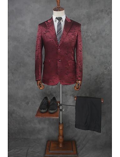 สีแดงเบอร์กันดี Patterned Tailored Fit ฝ้าย / เส้นใยสังเคราะห์ สูท - แหลม กระดุมสองเม็ดเรียงแถวเดียว / ชุด