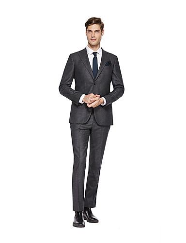 preiswerte Kleider & Accessoires für die Semesterferien-Hell Gray Solide Weite Passform Wolle Anzug - Fallendes Revers Einreiher - 2 Knöpfe
