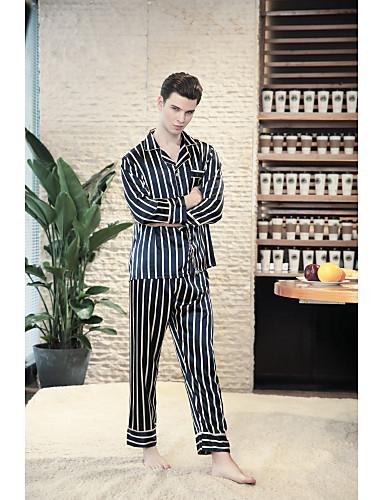 levne Pánské prádlo a plavky-Pánské Košilový límec Kostýmy Pyžama Proužky