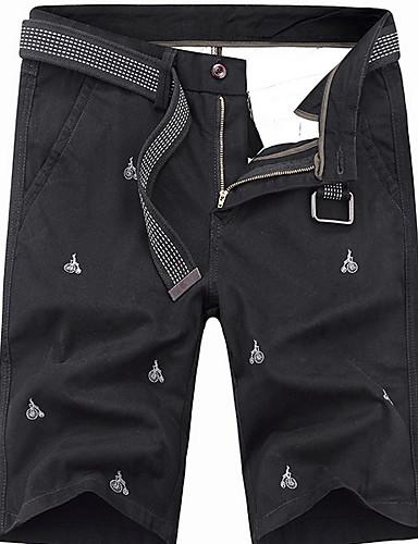 สำหรับผู้ชาย พื้นฐาน เพรียวบาง กางเกงขาสั้น กางเกง - ลายพิมพ์ ใบไม้สีเขียวที่มีสามแฉก สีดำ สีเทา 34 36 38