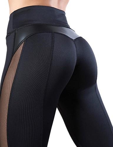 povoljno Odjeća za fitness, trčanje i jogu-Žene Visoki struk Kolaž Hlače za jogu Srce Mrežica Trčanje Fitness Biciklizam Hulahopke Odjeća za rekreaciju Quick dry Butt Lift Mikroelastično Slim