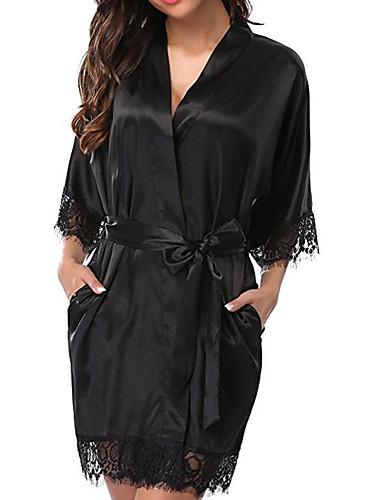 สำหรับผู้หญิง ซูเปอร์เซ็กซี่ เสื้อคลุม / ซาตินและผ้าไหม เสื้อนอน สีพื้น ขาว สีดำ ทับทิม XL XXL XXXL