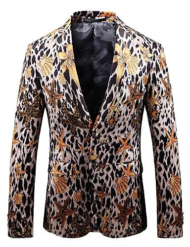 สำหรับผู้ชาย เสื้อคลุมสุภาพ, รูปเรขาคณิต ปกคอแบะของเสื้อแบบพึค ไหมสังเคราะห์ / เส้นใยสังเคราะห์ สีดำ