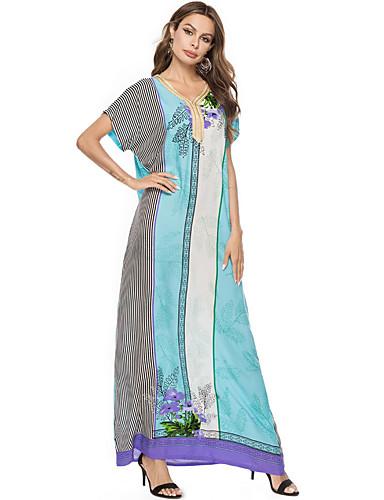 preiswerte Arabische Kleidung-Damen Boho Swing Kleid Maxi