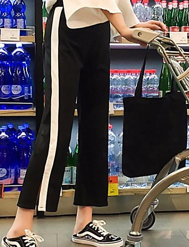 สำหรับผู้หญิง Sporty / พื้นฐาน หลวม ขากว้าง / กางเกงวอร์ม กางเกง - ลายแถบ Black & White, สลับ สีดำ M L XL