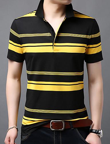 voordelige Herenpolo's-Heren Polo Katoen Gestreept Overhemdkraag Zwart