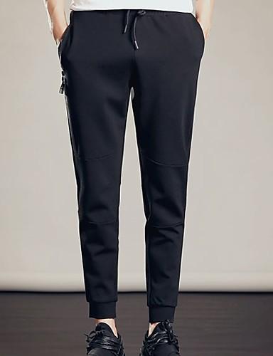 สำหรับผู้ชาย พื้นฐาน กางเกง Chinos กางเกง - สีพื้น สีดำ XL XXL XXXL