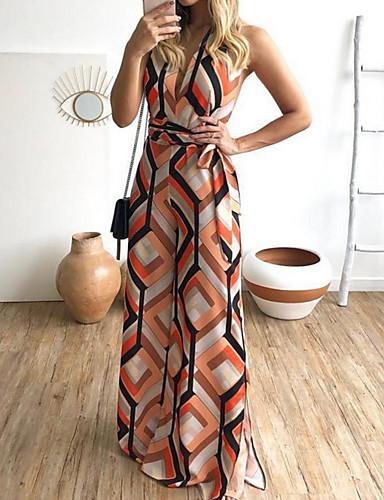 สำหรับผู้หญิง ส้ม ขากว้าง ชุด Jumpsuits Onesie, รูปเรขาคณิต S M L