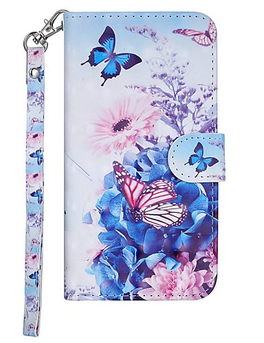 Case สำหรับ Samsung Galaxy Galaxy S10 E Wallet / Card Holder / with Stand ตัวกระเป๋าเต็ม Butterfly / ดอกไม้ Hard หนัง PU