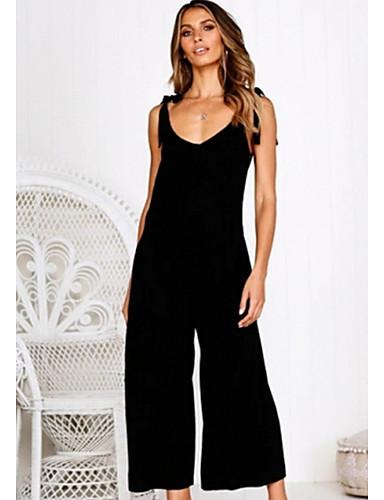 สำหรับผู้หญิง สีดำ สีแดงชมพู อาร์มี่ กรีน ชุด Jumpsuits, สีพื้น M L XL
