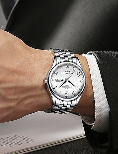 สำหรับผู้ชาย นาฬิกาตกแต่งข้อมือ ญี่ปุ่น นาฬิกาอิเล็กทรอนิกส์ (Quartz) สแตนเลส เงิน / ทอง 30 m Military กันน้ำ ปฏิทิน ระบบอนาล็อก กำไล แฟชั่น - สีดำ ทอง / เงิน / สีขาว ทอง / เงิน / ดำ / สองปี