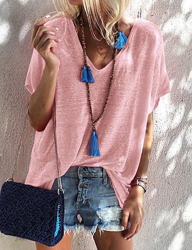 preiswerte Staubige Rose-Damen Solide T-shirt, V-Ausschnitt Staubige Rose Hellgrün