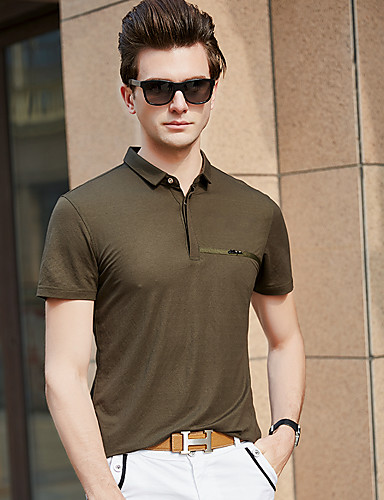 สำหรับผู้ชาย Polo คอเสื้อเชิ้ต สีพื้น สีดำ