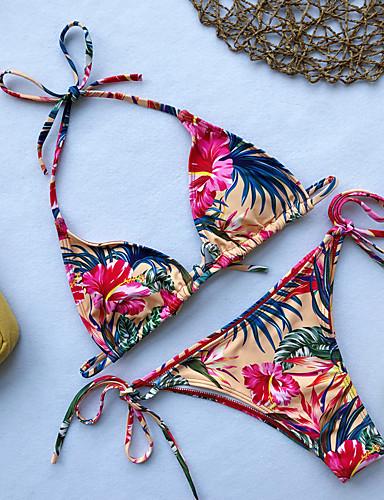 billige Bikinier og damemote-Dame Grunnleggende Navyblå Gul Lyseblå Trekant Cheeky Bikini Badetøy - Blomstret S M L Navyblå