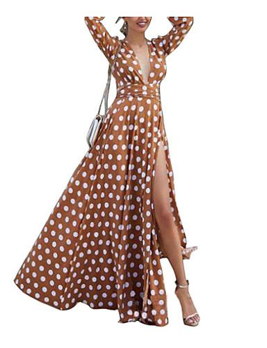 levne Maxi šaty-Dámské Štíhlý Swing Šaty Maxi Do V