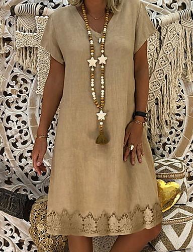 preiswerte Sommerkleider-Damen Hülle Kleid Knielang V-Ausschnitt