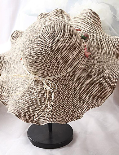 สำหรับผู้หญิง สีพื้น ลายดอกไม้ Straw ซึ่งทำงานอยู่ พื้นฐาน สไตล์น่ารัก-หมวกสาน ดวงอาทิตย์หมวก ทุกฤดู ผ้าขนสัตว์สีธรรมชาติ สีกากี