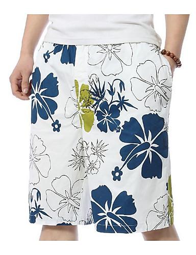 levne Pánské prádlo a plavky-Pánské Bílá Plavky Kalhotky Plavky - Květinový XXXXL XXXXXL XXXXXXL Bílá