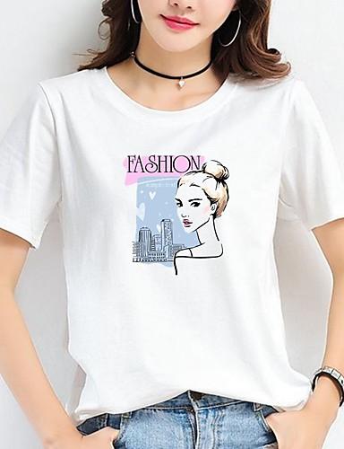 billige Dametopper-Bomull T-skjorte Dame - Dyr / Bokstaver / Portrett, Trykt mønster Hvit