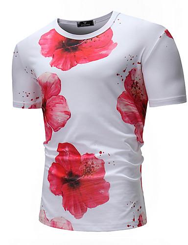 สำหรับผู้ชาย เสื้อเชิร์ต คอกลม ลายดอกไม้ ขาว