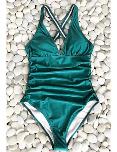 สำหรับผู้หญิง ใบไม้สีเขียวที่มีสามแฉก ชิ้นหนึ่ง ชุดว่ายน้ำ - สีพื้น M L XL ใบไม้สีเขียวที่มีสามแฉก