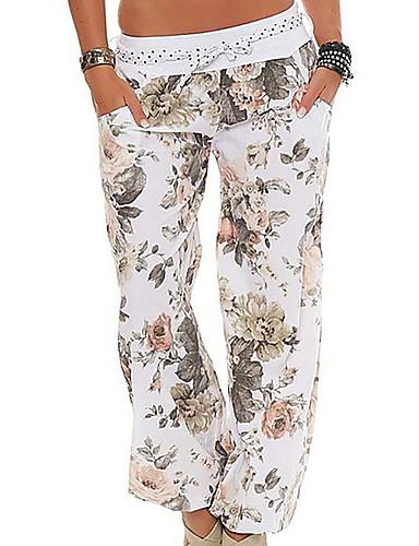 Dame Grunnleggende Store størrelser Løstsittende / Bloomers Bukser - Blomstret Rosa Militærgrønn Kakifarget XXXL XXXXL XXXXXL