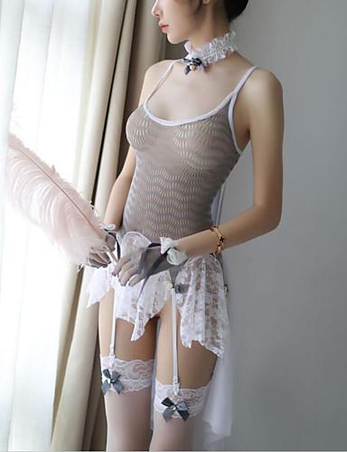 สำหรับผู้หญิง ลูกไม้ / เปิดหลัง ซูเปอร์เซ็กซี่ ชุด เสื้อนอน ลายต่อ / ประดับโบว์ ขาว สีเทา ขนาดเดียว