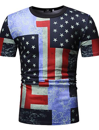 สำหรับผู้ชาย ขนาดของยุโรป / อเมริกา เสื้อเชิร์ต ลายพิมพ์ คอกลม รูปเรขาคณิต / ลายบล็อคสี / Tribal สีม่วง