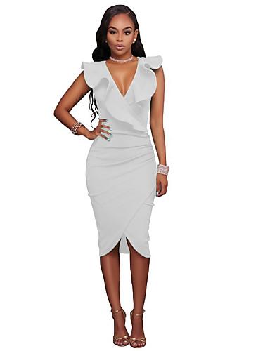 preiswerte Damenbekleidung-Damen Ausgehen Elegant Skinny Bodycon Kleid - Rüsche, Solide Knielang Tiefes V Hohe Taillenlinie / Sexy