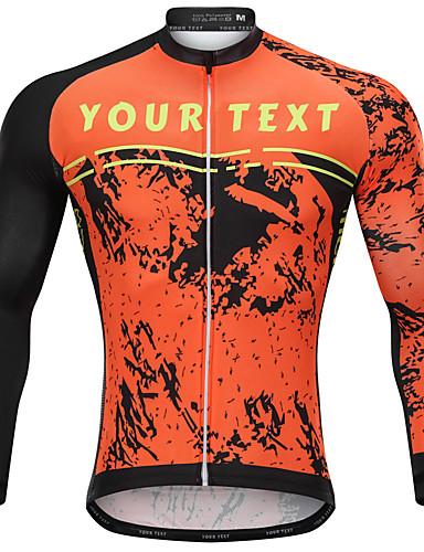 cheap Cycling-Customized Cycling Clothing Men's Long Sleeve Cycling Jersey - Orange Cartoon Bike Jersey, Breathable, Quick Dry, Anatomic Design / Micro-elastic / Mountain Bike MTB / Road Bike Cycling / Italian Ink