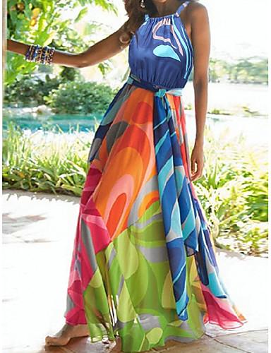 levne Maxi šaty-Dámské Plážové Sexy Cikánský Tunika Swing Abaya Šaty Květinový Šifón Maxi Lodičkový