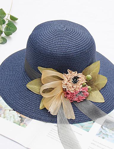 สำหรับผู้หญิง ลายดอกไม้ Straw ลูกไม้ ซึ่งทำงานอยู่ สไตล์น่ารัก-หมวกสาน ดวงอาทิตย์หมวก ฤดูร้อน ผ้าขนสัตว์สีธรรมชาติ สีน้ำเงินกรมท่า สีกากี