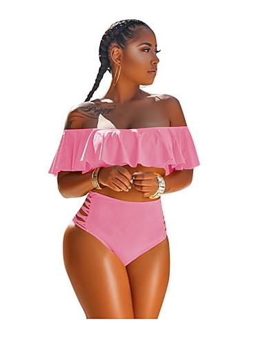 billige Bikinier og damemote-Dame Rosa Gul Vin Bikinikjole Badetøy - Ensfarget Drapering XL XXL XXXL Rosa