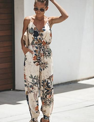 สำหรับผู้หญิง พื้นฐาน สาย สีดำ ขาว ฮาเร็ม ชุด Jumpsuits, รูปเรขาคณิต S M L