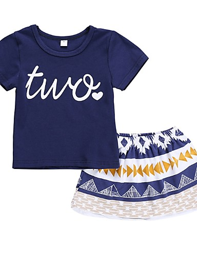 ทารก เด็กผู้หญิง พื้นฐาน ลายบล็อคสี แขนสั้น ปกติ ฝ้าย ชุดเสื้อผ้า สีน้ำเงิน / Toddler