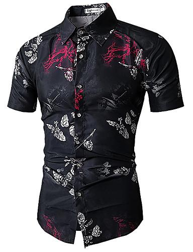 preiswerte Schöne modische Herrenhemden-Herrn Blumen / Geometrisch EU- / US-Größe Hemd, Klassischer Kragen Druck Schwarz