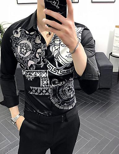 billige Vintage-EU / USA størrelse Skjorte Herre - Tribal, Trykt mønster Hvit / Langermet