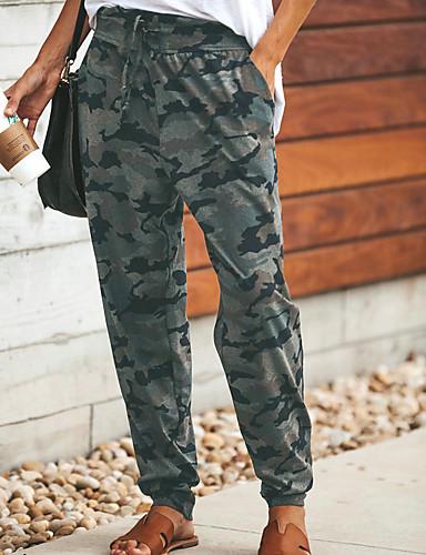 สำหรับผู้หญิง Sporty กางเกงวอร์ม / ชุดกีฬาผู้หญิง กางเกง - Camouflage Color กีฬา เทาเข้ม อูฐ สีเทา M L XL